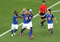 BOGOTA -COLOMBIA, 7-MARZO-2015. Gabriel Diaz de Millonarios celebra su  contra  La Equidad  durante la octava fecha de La Liga Aguila jugado en el estadio Nemesio Camacho El Campin . / Gabriel Diaz  of  Millonarios  celebrates his goal   against of La Equidad  during the eight round of La Liga Aguila played at the Nemesio Camacho El Campin  stadium in Bogota. Photo / VizzorImage / Felipe Caicedo  / Staff