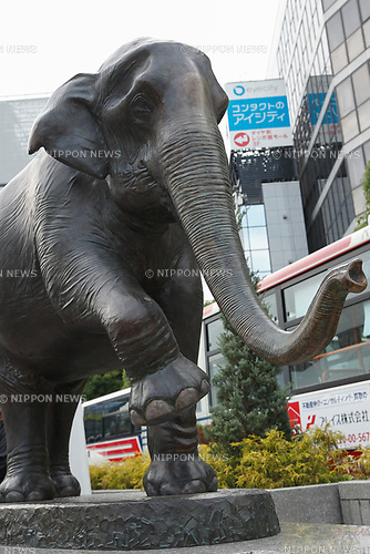 A memorial statue of Hanako, Inokashira Park Zoo's elephant, is displayed in front of Kichijoji Station on May 7, 2017, Tokyo, Japan. One year after her death, a 1.5m tall 2.5m long statue of the Asian Elephant was unveiled last Friday, May 5, outside Kichijoji Station. Hanako who died on May 26, 2016, aged 69, was the oldest elephant in Japan. She was originally a gift from the Thai government in 1949. The statue was funded by private donations. (Photo by Rodrigo Reyes Marin/AFLO)