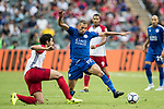 Leicester City FC forward Islam Slimani (R) competes for the ball with West Bromwich Albion defender Ahmed Hegazy (L) during the Premier League Asia Trophy match between Leicester City FC and West Bromwich Albion at Hong Kong Stadium on 19 July 2017, in Hong Kong, China. Photo by Yu Chun Christopher Wong / Power Sport Images
