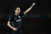 Makoto Hasebe of Eintracht Frankfurt celebrates their victory at the final whistle during Arsenal vs Eintracht Frankfurt, UEFA Europa League Football at the Emirates Stadium on 28th November 2019