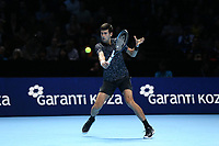 Novak Djokovic of Serbia during his singles round robin match against John Isner of The United States<br /> <br /> Photographer Rob Newell/CameraSport<br /> <br /> International Tennis - Nitto ATP World Tour Finals Day 2 - O2 Arena - London - Sunday 12th November 2018<br /> <br /> World Copyright &copy; 2018 CameraSport. All rights reserved. 43 Linden Ave. Countesthorpe. Leicester. England. LE8 5PG - Tel: +44 (0) 116 277 4147 - admin@camerasport.com - www.camerasport.com