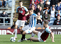 Huddersfield Town's Jonathan Hogg is tackled by Burnley's Ashley Barnes<br /> <br /> Photographer Rich Linley/CameraSport<br /> <br /> The Premier League - Burnley v Huddersfield Town - Saturday 6th October 2018 - Turf Moor - Burnley<br /> <br /> World Copyright &copy; 2018 CameraSport. All rights reserved. 43 Linden Ave. Countesthorpe. Leicester. England. LE8 5PG - Tel: +44 (0) 116 277 4147 - admin@camerasport.com - www.camerasport.com