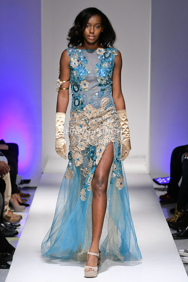 Model walks runway with an outfit from the Joyce Penas Pilarsky Spring Summer 2013 collection, during BK Fashion Weekend Spring Summer 2013, September 30, 2012.