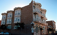 San Diego: Horton Grand Hotel, 3/4 Elevation.  Formerly facade on F St. between 4th & 5th Avenue. Originally built in 1887 by Comstock & Trotsche. Replaced by Horton Plaza Shopping Center. Moved and rebuilt at 311 Island Ave.  NRHP 1980. Italianate Victorian style. Photo '90.