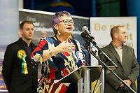 Pictured: Carolyn Harris gives a speech after winning the Swansea East seat for the Labour party. Friday 13 December 2019<br /> Re: Ballots count at the Leisure Centre in Swansea, Wales, UK.