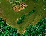 Aerial view of hockey Flyers Logo in a farm outside philadlephia