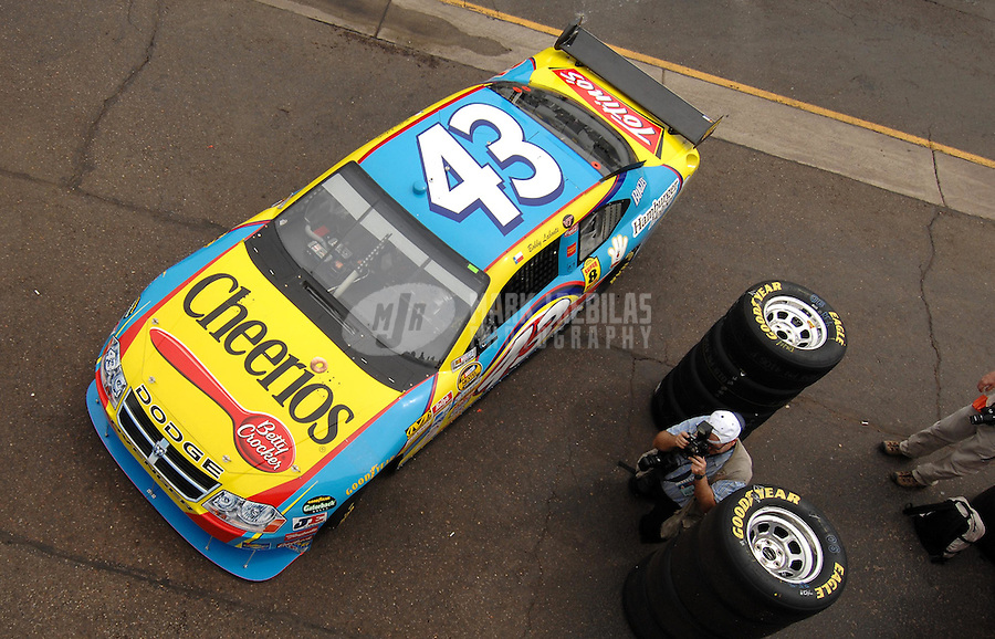 Apr 20, 2007; Avondale, AZ, USA; Nascar Nextel Cup Series driver Bobby Labonte (43) during practice for the Subway Fresh Fit 500 at Phoenix International Raceway. Mandatory Credit: Mark J. Rebilas
