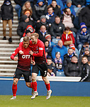 16.03.2019 Rangers v Kilmarnock: Conor McAleny celebrates with Rory McKenzie
