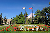 Royal Canadian Mint with flower gardens<br /> Winnipeg<br /> Manitoba<br /> Canada