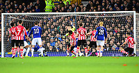 Lincoln City's Michael Bostwick scores Lincoln's opening goal<br /> <br /> Photographer Andrew Vaughan/CameraSport<br /> <br /> Emirates FA Cup Third Round - Everton v Lincoln City - Saturday 5th January 2019 - Goodison Park - Liverpool<br />  <br /> World Copyright &copy; 2019 CameraSport. All rights reserved. 43 Linden Ave. Countesthorpe. Leicester. England. LE8 5PG - Tel: +44 (0) 116 277 4147 - admin@camerasport.com - www.camerasport.com