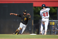 Bristol Pirates first baseman Mikell Granberry (7) tries to tag Ricardo Rodriguez (49) of the Danville Braves at American Legion Post 325 Field on July 1, 2018 in Danville, Virginia. The Braves defeated the Pirates 3-2 in 10 innings. (Brian Westerholt/Four Seam Images)