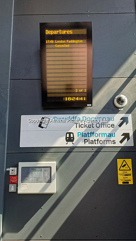 Pictured: A tv screen with a list of cancelled services at Port Talbot Parkway railway station in south Wales, UK. Wednesday 03 July 2019<br /> Re: Two rail workers have died after being hit by a passenger train between Port Talbot Parkway and Bridgend stations in south Wales, UK.<br /> The pair were struck near Margam by the Swansea to London Paddington train at about 10am.<br /> They were pronounced dead at the scene and a third person was treated for shock, but was not injured.