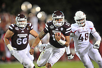 NWA Media/Michael Woods --11/01/2014-- w @NWAMICHAELW... Mississippi State quarterback Dak Prescott runs the ball down inside the 10 yard line in the 2nd quarter of Saturday nights game against Arkansas at Davis Wade Stadium in Starkville, Mississippi.