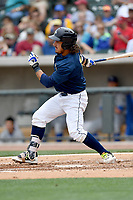Designated hitter Jay Jabs (7) of the Columbia Fireflies bats in a game against the Lexington Legends on Sunday, April 23, 2017, at Spirit Communications Park in Columbia, South Carolina. Lexington won, 4-2. (Tom Priddy/Four Seam Images)