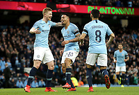 Manchester City's Gabriel Jesus celebrates scoring the opening goal with team-mates Kevin De Bruyne (left) and Ilkay Gundogan<br /> <br /> Photographer Rich Linley/CameraSport<br /> <br /> Emirates FA Cup Fourth Round - Manchester City v Burnley - Saturday 26th January 2019 - The Etihad - Manchester<br />  <br /> World Copyright © 2019 CameraSport. All rights reserved. 43 Linden Ave. Countesthorpe. Leicester. England. LE8 5PG - Tel: +44 (0) 116 277 4147 - admin@camerasport.com - www.camerasport.com