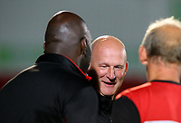 Blackpool manager Simon Grayson shares a word with Doncaster Rovers manager Darren Moore before the match<br /> <br /> Photographer Alex Dodd/CameraSport<br /> <br /> The EFL Sky Bet League One - Doncaster Rovers v Blackpool - Tuesday September 17th 2019 - Keepmoat Stadium - Doncaster<br /> <br /> World Copyright © 2019 CameraSport. All rights reserved. 43 Linden Ave. Countesthorpe. Leicester. England. LE8 5PG - Tel: +44 (0) 116 277 4147 - admin@camerasport.com - www.camerasport.com