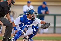 Rancho Cucamonga Quakes Steve Berman (29) in action against the Lake Elsinore Storm at LoanMart Field on April 20, 2018 in Rancho Cucamonga, California. The Quakes defeated the Storm 7-5.  (Donn Parris/Four Seam Images)
