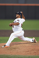 Buies Creek Astros relief pitcher Abdiel Saldana (21) in action against the Frederick Keys at Jim Perry Stadium on April 28, 2018 in Buies Creek, North Carolina. The Astros defeated the Keys 9-4.  (Brian Westerholt/Four Seam Images)