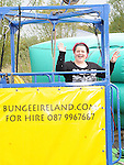 Anita Collins gets ready for her bungee jump at the Boyne Fishermans Rescue and Recovery open day. Photo: Colin Bell/pressphotos.ie