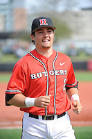 Rutgers University Scarlet Knights infielder John Jennings (2) after a game against the University of Cincinnati Bearcats at Bainton Field on April 19, 2014 in Piscataway, New Jersey. Rutgers defeated Cincinnati 4-1.  (Tomasso DeRosa/ Four Seam Images)