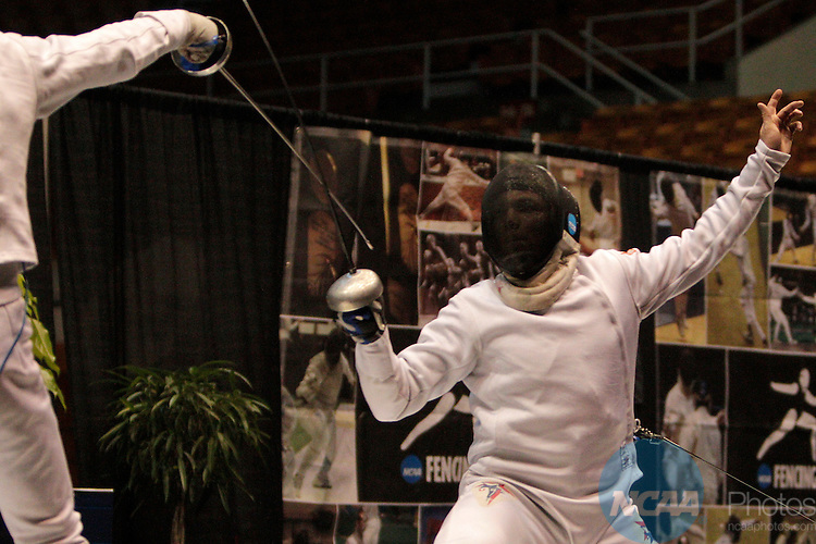 25 MAR 2012:  Jonathan Yergler, right, of Princeton fences against Alen Hadzic of Columbia in the epee competition of the Division I Men's Fencing Championship held at St. John Arena on the Ohio State University campus in Columbus, OH. Yergler defeated Hadzic 15-8 to claim the national title.  Jay LaPrete/ NCAA Photos