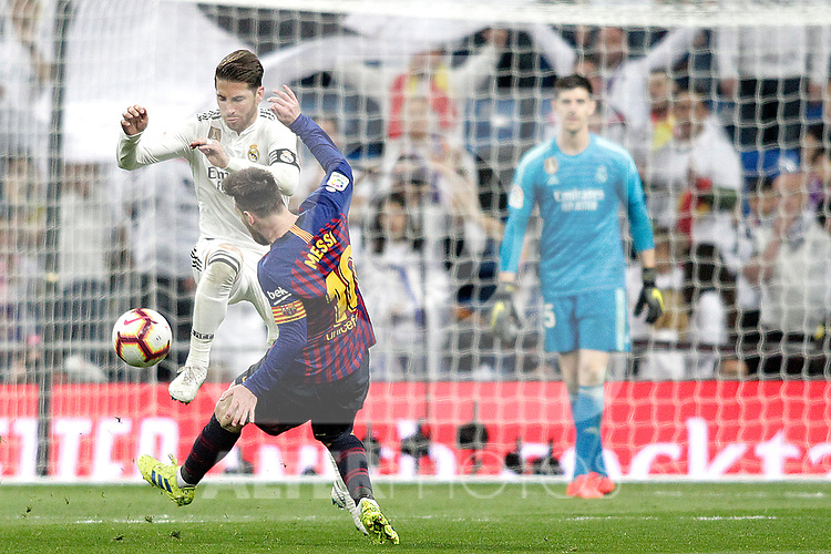 Real Madrid CF's Sergio Ramos and FC Barcelona's Leo Messi during La Liga match. March 02,2019. (ALTERPHOTOS/Alconada)