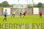 In Action Celtic keeper Gary Sugrue keeps out Dynamos Attack  in the FAI Junior Cup - Tralee Dynamos V Killarney Celtic at Cahermoneen on Sunday