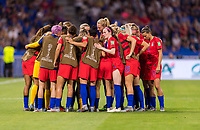 LYON,  - JULY 2: The USWNT huddles during a game between England and USWNT at Stade de Lyon on July 2, 2019 in Lyon, France.