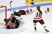 Florence Schelling (Northeastern - 41), Emily Field (BC - 15), Ashley Motherwell (BC - 18) - The Northeastern University Huskies defeated the Boston College Eagles in a shootout on Monday, January 31, 2012, in the opening round of the 2012 Women's Beanpot at Walter Brown Arena in Boston, Massachusetts. The game is considered a 1-1 tie for NCAA purposes.