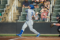 Eric Cole (3) of the Lexington Legends follows through on his swing against the Kannapolis Intimidators at Kannapolis Intimidators Stadium on August 3, 2019 in Kannapolis, North Carolina. The Intimidators defeated the Legends 3-2 in 11 innings. (Brian Westerholt/Four Seam Images)