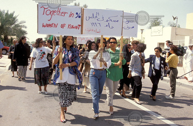 © Penny Tweedie / Panos Pictures..Kuwait...Women demonstrating for the right to vote.