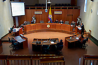 The Supreme Court, sitting during an appeal case against Javier Ramiro Devia (behind the microphone), a member of Congress for the Conservative Party since 1998. He was convicted of aggravated conspiracy with the paramilitary forces of the AUC, to manipulate his election campaign in Tolima department. The sentence of seven years was confirmed.