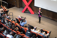 """Ani Zonneveld, founder and president of Muslims for Progressive Values (MPV), talks about """"Islam: As American As Apple Pie.""""<br /> Occidental College's second TEDx event, Choi Auditorium, April 2, 2016. Featuring talks on sustainability and global development by speakers that included five students, a faculty member and seven external speakers.<br /> (Photo by Marc Campos, Occidental College Photographer)"""