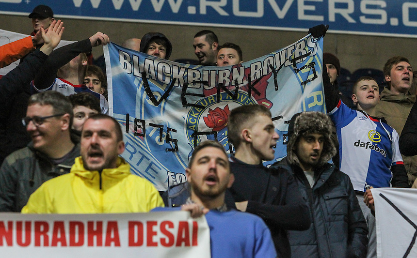 Blackburn Rovers fans stay in the stands after the game to protest against owners Venky's <br /> <br /> Photographer Alex Dodd/CameraSport<br /> <br /> The EFL Sky Bet Championship - Blackburn Rovers v Newcastle United - Monday 2nd January 2017 - Ewood Park - Blackburn<br /> <br /> World Copyright &copy; 2017 CameraSport. All rights reserved. 43 Linden Ave. Countesthorpe. Leicester. England. LE8 5PG - Tel: +44 (0) 116 277 4147 - admin@camerasport.com - www.camerasport.com