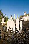 Immaculate Conception Catholic Church and historic gold rush-era headstones in its cemetery, Sutter Creek, Calif.