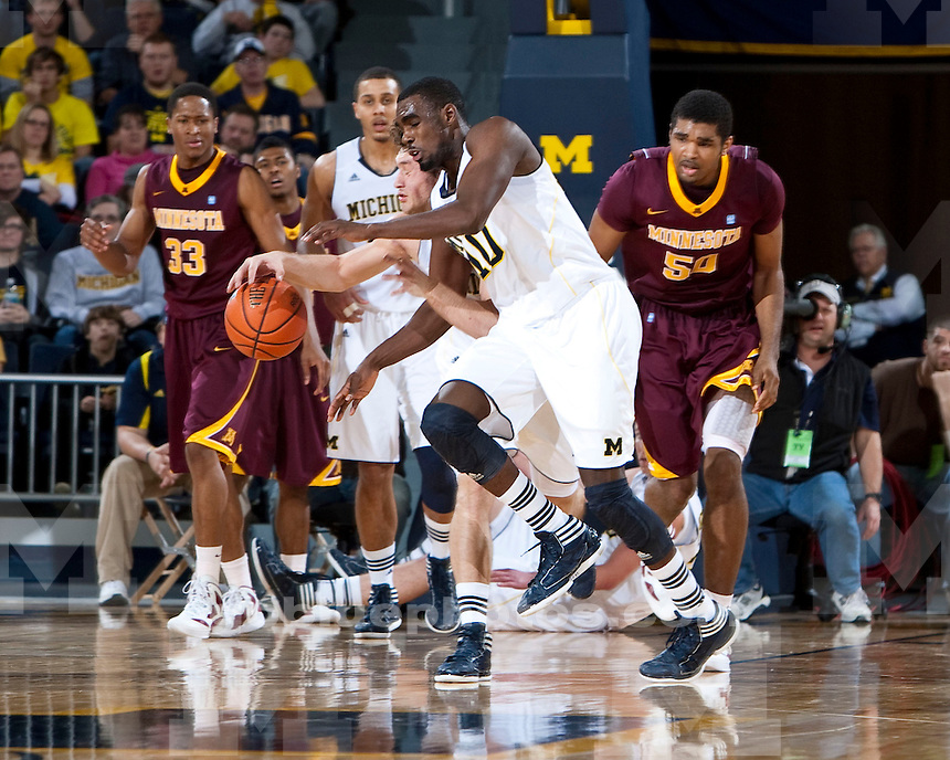 The University of Michigan men's basketball team beat Minnesota 61-56 at Crisler Arena in Ann Arbor, Mich., on January 1, 2012.