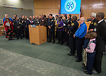 Houston Ministers Against Crime vice-president Pastor F.N. Williams II comments during a press conference for Project Safe Start, a collaborative program between area ministers, law enforcement and school officials to encourage students to have a safe summer, May 27, 2014.
