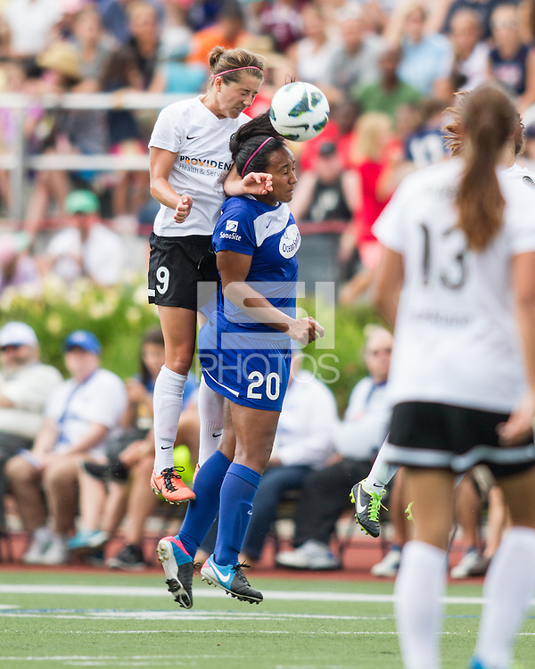 In a National Women's Soccer League Elite (NWSL) match, Portland Thorns FC defeated the Boston Breakers, 2-1, at Dilboy Stadium on July 21, 2013Portland Thorns FC forward Danielle Foxhoven (9) and Boston Breakers midfielder Mariah Nogueira (20) leap for a head ball.