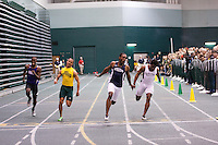 Lincoln sophomore Romel Lewis (2nd from right) cruises to victory in the 60 meter dash in an NCAA DII Indoor Nationals automatic qualfiying time of 6.70 at the 2012 MIAA Indoor Track & Field Championships at Missouri Southern in Joplin, Sunday, February 26. Lincoln's Ravel Grey (right) was second in 6.82, Missouri Southern freshman Jeff Fraley (in yellow) was third in a school record of 6.83, while SBU's Deneko Brown was 8th overall in the two section race.