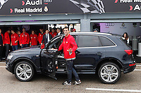 Real Madrid player Alvaro Arbeloa participates and receives new Audi during the presentation of Real Madrid's new cars made by Audi at the Jarama racetrack on November 8, 2012 in Madrid, Spain.(ALTERPHOTOS/Harry S. Stamper) .<br />