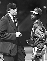 Unpire Ron Lucianio with Oakland A's ball boy (Stanley Burell)...AK M.C.Hammer?? (photo/Ron Riesterer)