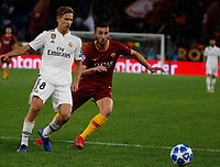 Toni Kroos of Real Madrid  and Bryan Cristante of AS Roma  during the Champions League Group  soccer match between AS Roma - Real Madrid  at the Stadio Olimpico in Rome Italy 27 November 2018