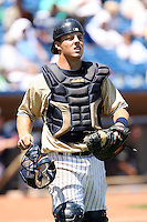 July 10th 2008:  Catcher Adam Davis of the Lake County Captains, Class-A affiliate of the Cleveland Indians, during a a game at Classic Park in Eastlake, OH.  Photo by:  Mike Janes/Four Seam Images