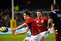 Johnny Sexton passes during the 2017 DHL Lions Series rugby union match between the NZ Provincial Barbarians and British & Irish Lions at Toll Stadium in Whangarei, New Zealand on Saturday, 3 June 2017. Photo: Dave Lintott / lintottphoto.co.nz