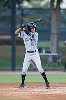 AZL White Sox second baseman Kevin Maldonado (5) at bat during an Arizona League game against the AZL Dodgers at Camelback Ranch on July 7, 2018 in Glendale, Arizona. The AZL Dodgers defeated the AZL White Sox by a score of 10-5. (Zachary Lucy/Four Seam Images)