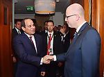 Egyptian President Abdel Fattah al-Sisi meets with Czech Republic's Prime Minister Bohuslav Sobotka on the sidelines of a summit of the Visegrad group countries (V4) and Egypt in Budapest, Hungary on July 4, 2017. Photo by Egyptian President Office
