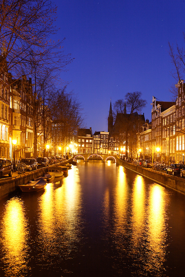 Lights along Leidsegracht canal, Amsterdam, Netherlands
