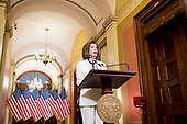 Speaker of the United States House of Representatives Nancy Pelosi (Democrat of California), announces she is calling on the US House Judiciary Committee to proceed with articles of impeachment against US President Donald J. Trump from the Speakers Balcony in the US Capitol in Washington, DC on Thursday, December 5, 2019.<br /> Credit: Bill Clark / Pool via CNP
