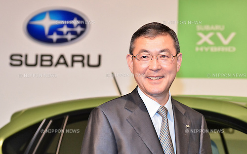 Yasuyuki Yoshida, SUBARU, April 18, 2013, Tokyo, Japan : Yasuyuki Yoshida, President and Chief Executive Officer of Fuji Heavy Industries Ltd., poses with a prototype of SUBARU XV Hybrid during the press conference in Tokyo, Japan, on April 18, 2013. (Photo by Aflo)