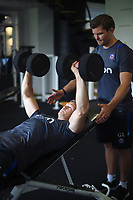 Chris Cook of Bath Rugby in the gym. Bath Rugby pre-season training on July 28, 2017 at Farleigh House in Bath, England. Photo by: Patrick Khachfe / Onside Images